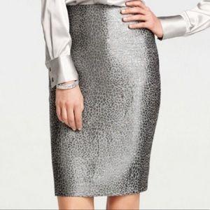 Ann Taylor Metallic Gray Leopard Pencil Skirt 4